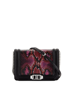 8b2ddedb46 Rebecca Minkoff Love Small Snake-Print Crossbody Bag
