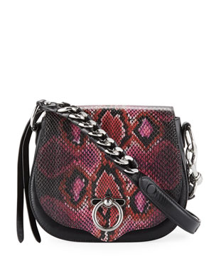 f50fbb2eb8 Rebecca Minkoff Jean Small Snake-Print Saddle Crossbody Bag