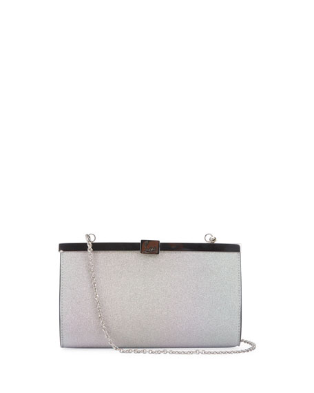 Christian Louboutin Palmette Small Glitter Sunset Clutch Bag