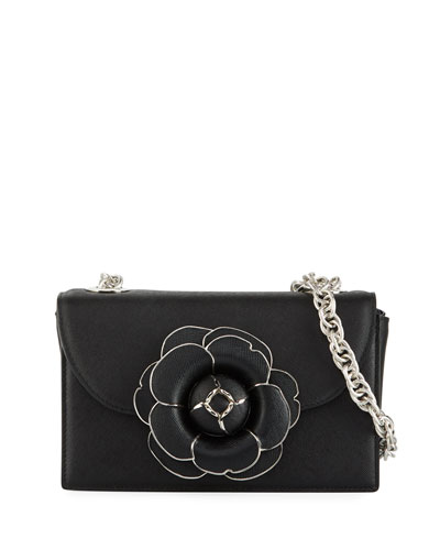 Tro Flower Leather Crossbody Bag - Silver Hardware