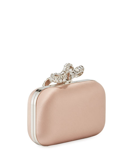 Jimmy Choo Cloud Bos Satin Clutch Bag with Crystal Bow