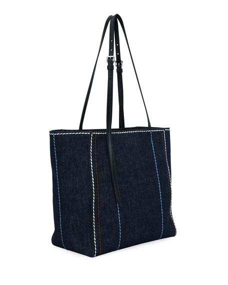 Prada Small Denim Shopper With Stitching Detail