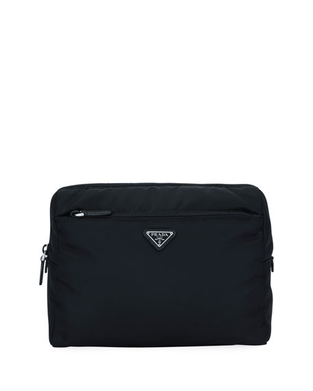 Prada Large Nylon Beauty Pouch With Contrast Lining