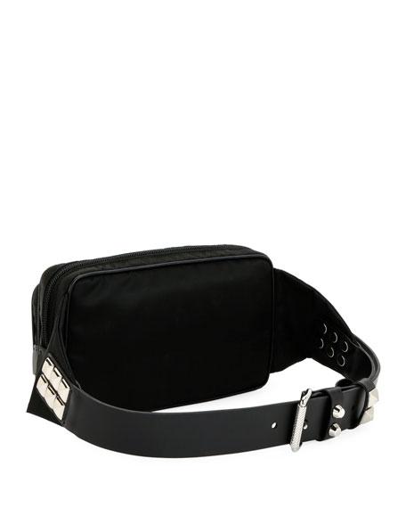 Prada Prada Black Nylon Belt Bag With Studding