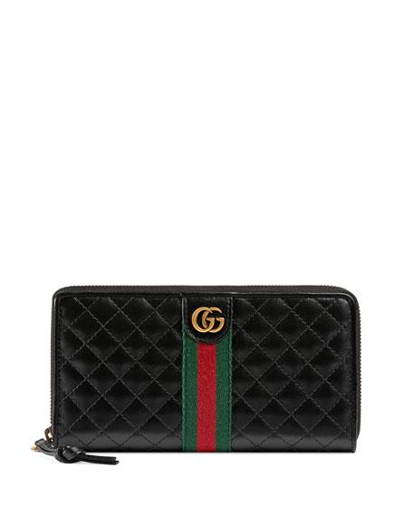 Gucci Trapuntata Leather Zip-Around Wallet