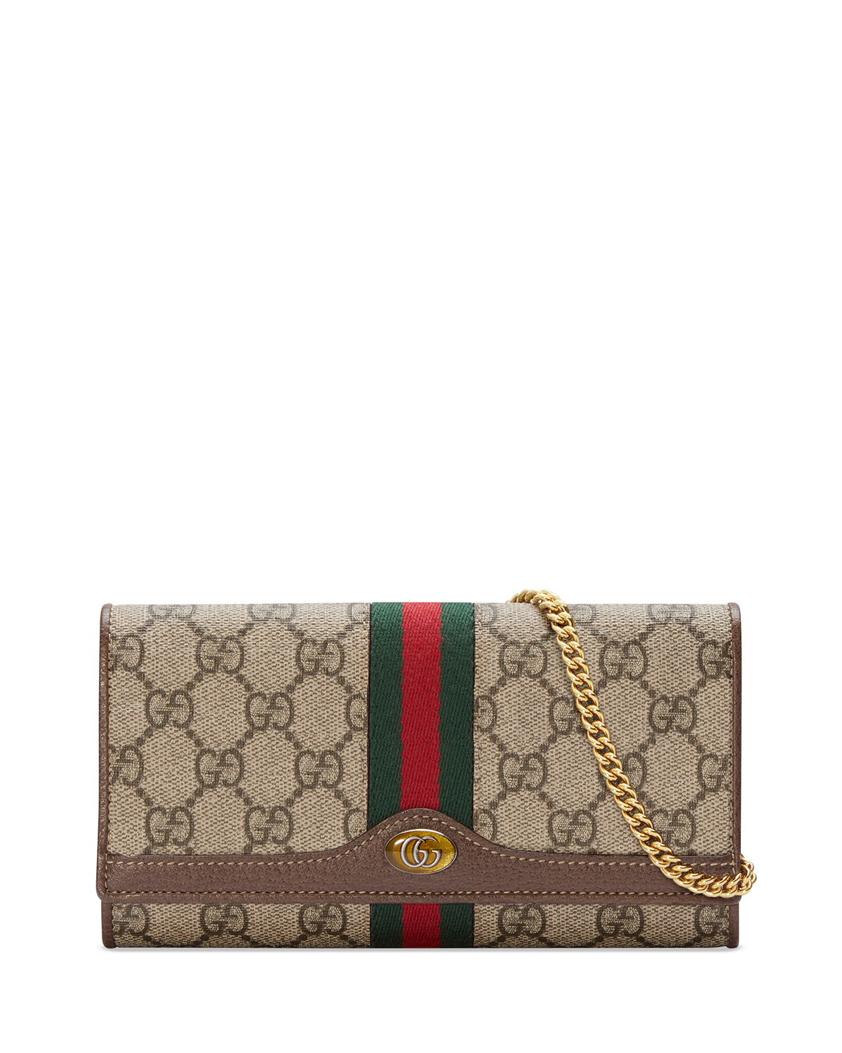 f8b51be7d5485a Gucci Ophidia GG Supreme Canvas Flap Wallet on Chain | Neiman Marcus