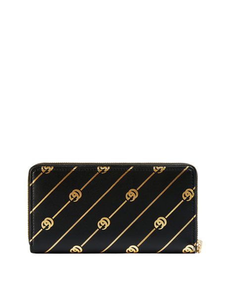 Gucci GG Diagonal Leather Zip-Around Wallet