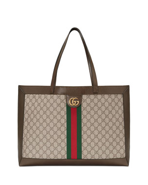 1a6cf41860a4f2 Gucci Ophidia Soft GG Supreme Canvas Tote Bag with Web