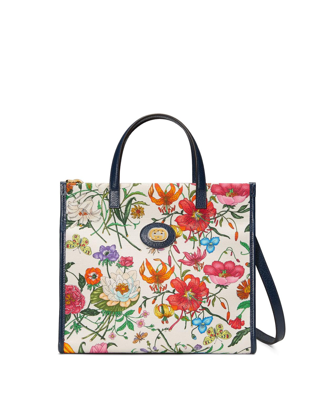 9ea341320015 Gucci Flora Small Canvas Tote Bag | Neiman Marcus