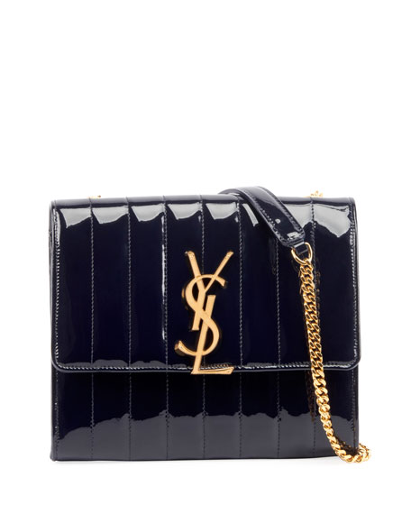 Saint Laurent Vicky Monogram YSL North/South Quilted Patent Wallet on Chain