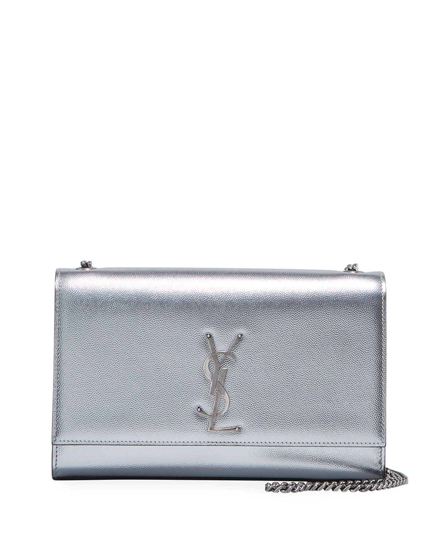 5e07c3f8 Kate Medium YSL Monogram Chain Metallic Leather Crossbody Bag