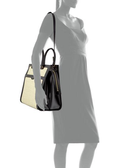 Saint Laurent Uptown Medium Monogram YSL Leather/Raffia Satchel Bag