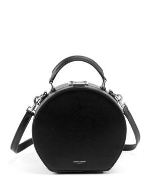 Saint Laurent Mica Small Leather Top-Handle Hat Box Bag w  Crossbody Strap 449cddd9b5cee