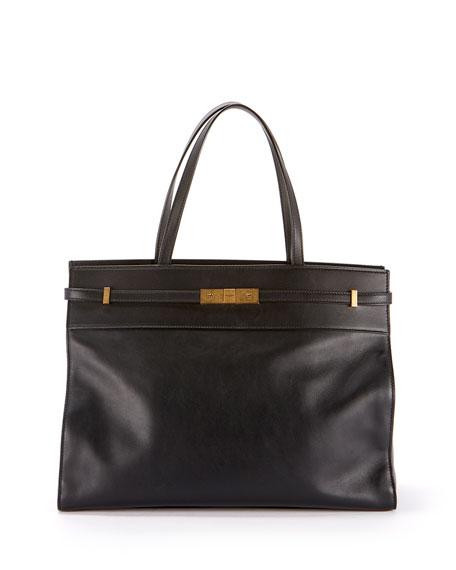 Saint Laurent Manhattan Medium Belted Leather Shoulder Tote Bag - Bronze Hardware