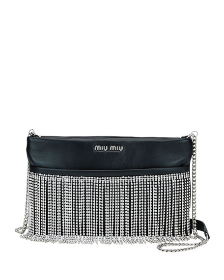 Miu Miu Fringe Crystal Napa Crossbody Bag Neiman Marcus