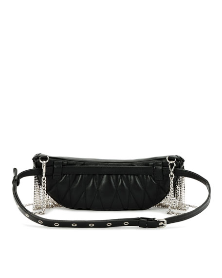 Miu Miu Crystal Fringe Napa Leather Fanny Pack/Crossbody Bag