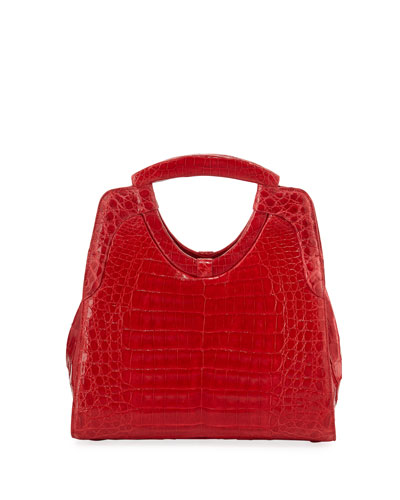 Small Keyhole Crocodile Top-Handle Bag