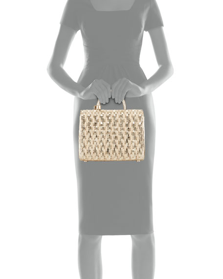 Nancy Gonzalez Woven Metallic Top-Handle Bag