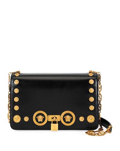 Icon Medium Calf Leather Crossbody Bag with Medusa Studs