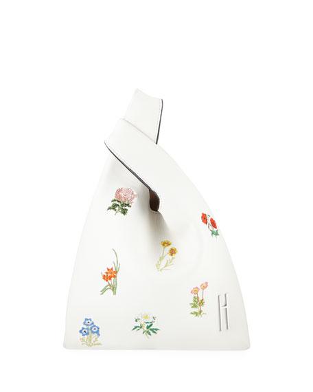Hayward Mini Floral-Embroidered Shopper Napa Top Handle Bag