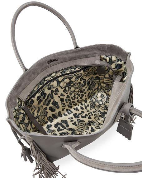 Longchamp Penelope Medium Fringed Suede & Leather Tote Bag