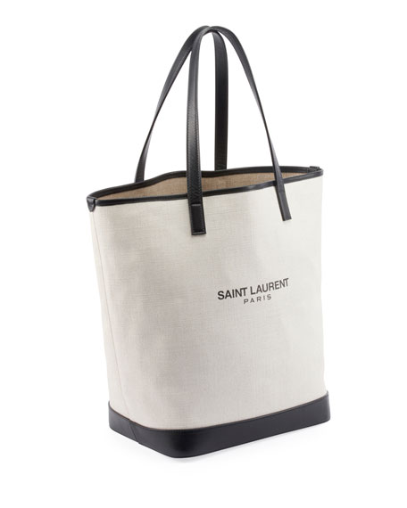 Saint Laurent Teddy Medium Canvas/Leather Drawstring Shopping Tote Bag