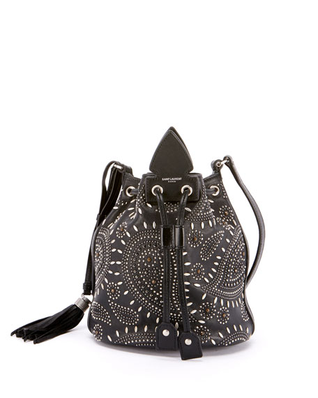 Saint Laurent Anja Small Studded Bandana Bucket Bag