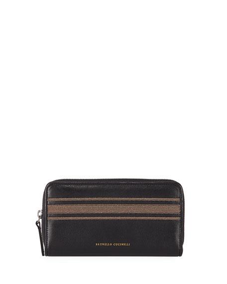 Brunello Cucinelli Leather Zip Continental Wallet