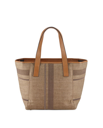Monili-Stripe Leather Shoulder Tote Bag