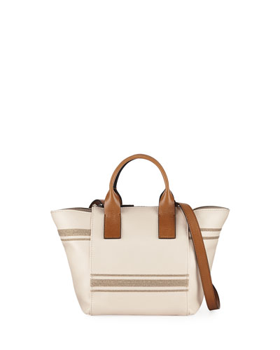 Monili-Striped Tote Bag with Crossbody Strap