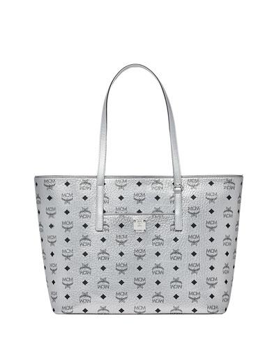 Anya Medium Metallic Visetos Zip Shopper Tote Bag