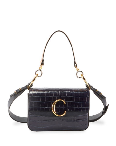 Chloe C Croc Embossed Leather Shoulder Bag