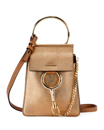 Chloe Faye Mini Metallic Leather Bracelet Bag