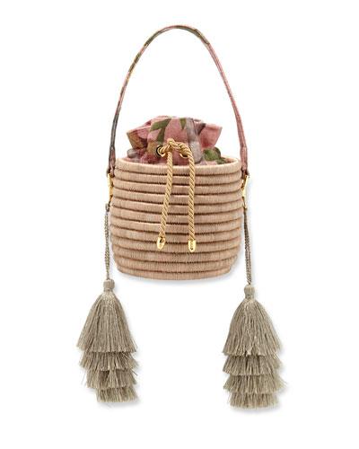 Monochrome Woven Straw Bucket Bag with Metallic Tassels
