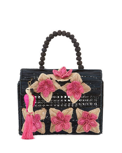 Iraca Palm Threaded Fabric Top-Handle Bag