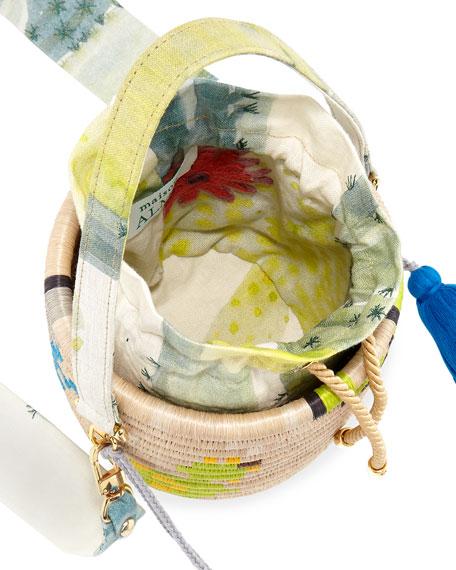 Maison Alma Colorblock Straw Bucket Bag