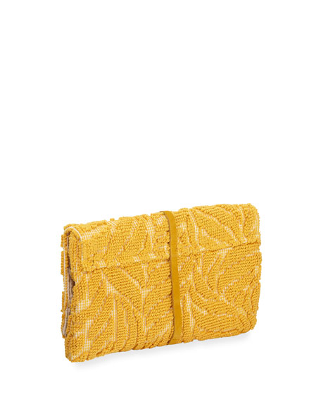 Casa Isota Barbara Tassel Fabric Clutch Bag, Yellow