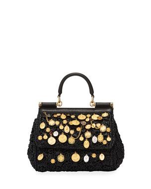 bd1d16691a6a Dolce   Gabbana Sicily Small Embellished Raffia Shoulder Bag