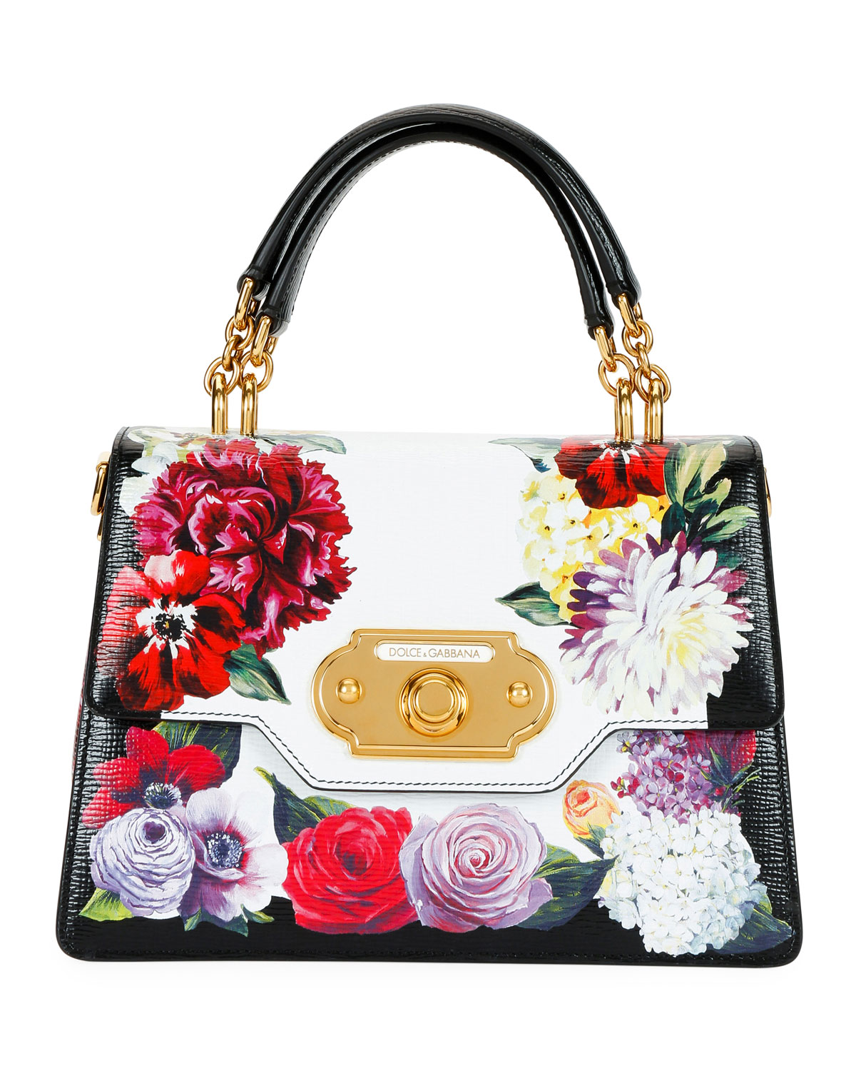 939e2947f5f Dolce & Gabbana Welcome Flower Leather Shoulder Bag   Neiman Marcus