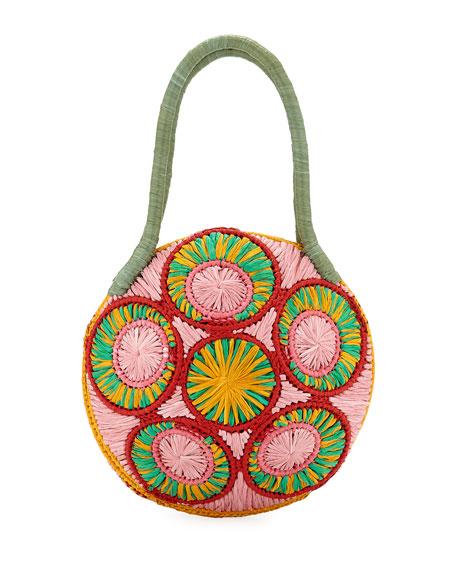 Sophie Anderson Saba Straw Circle Top Handle Bag