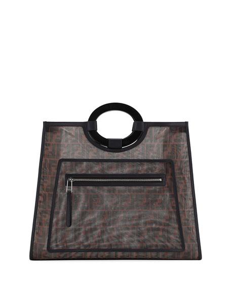 Fendi Runaway Large FF Mesh Shopping Tote Bag