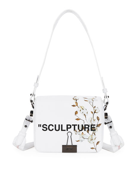 Off-White Cotton Flower Leather Crossbody Bag