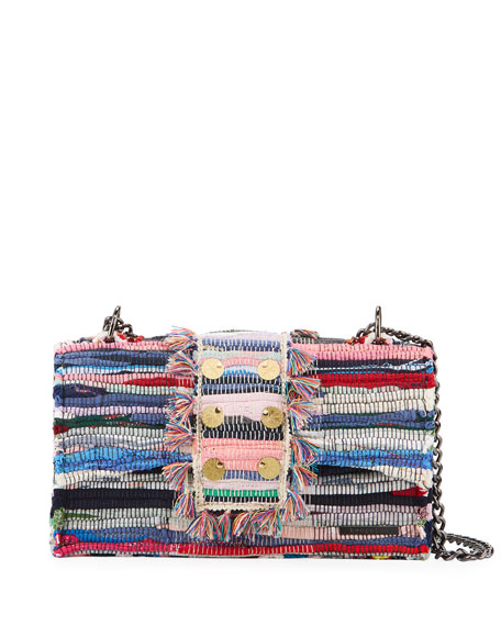 Kooreloo New Yorker Woven Front-Flap Bag w/ Removable Crossbody Chain Strap