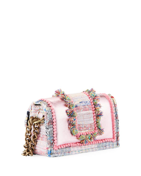 Kooreloo Hollywood Babe Woven Front-Flap Bag w/ Crossbody Chain Strap
