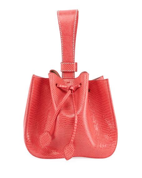 ALAIA Rose Marie Small Lizardskin Bucket Bag
