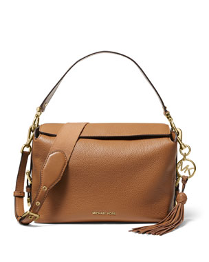 4925e8a44aac6f MICHAEL Michael Kors Brooke Medium Leather Satchel Bag
