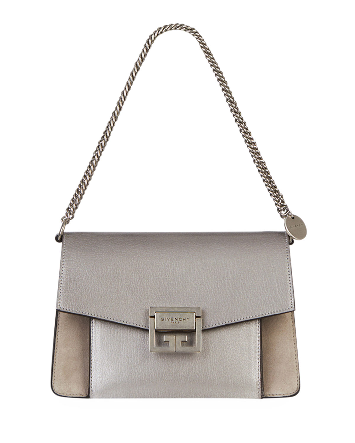 06d406d829a00 Givenchy GV3 Small Metallic Leather & Suede Shoulder Bag | Neiman Marcus