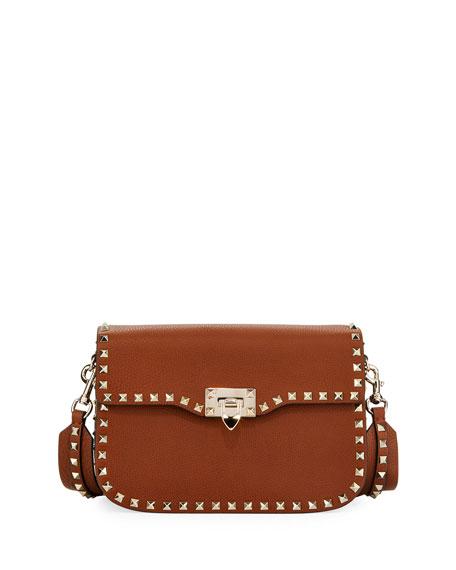 Valentino Garavani Rockstud Medium Leather Saddle Shoulder Bag