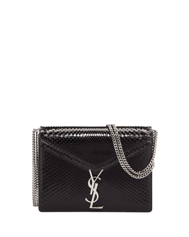 225a8d052a2 Saint Laurent Cassandra Medium Monogram YSL Python V-Flap Crossbody Bag