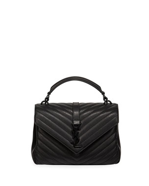 Saint Laurent College Medium Monogram YSL V-Flap Crossbody Bag - Black  Hardware e309a0976a
